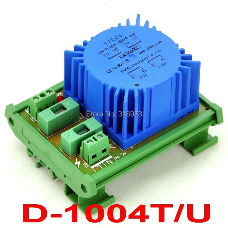 P 230VAC, S 30VAC, 25VA DIN Rail Mount Toroidal Power Transformer Module.