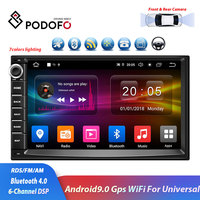 Podofo 2 Din 7 '' Quad core universal system Android 9.0 16GB Momery car stereo radio with GPS navigation WiFi 6 Channel DSP
