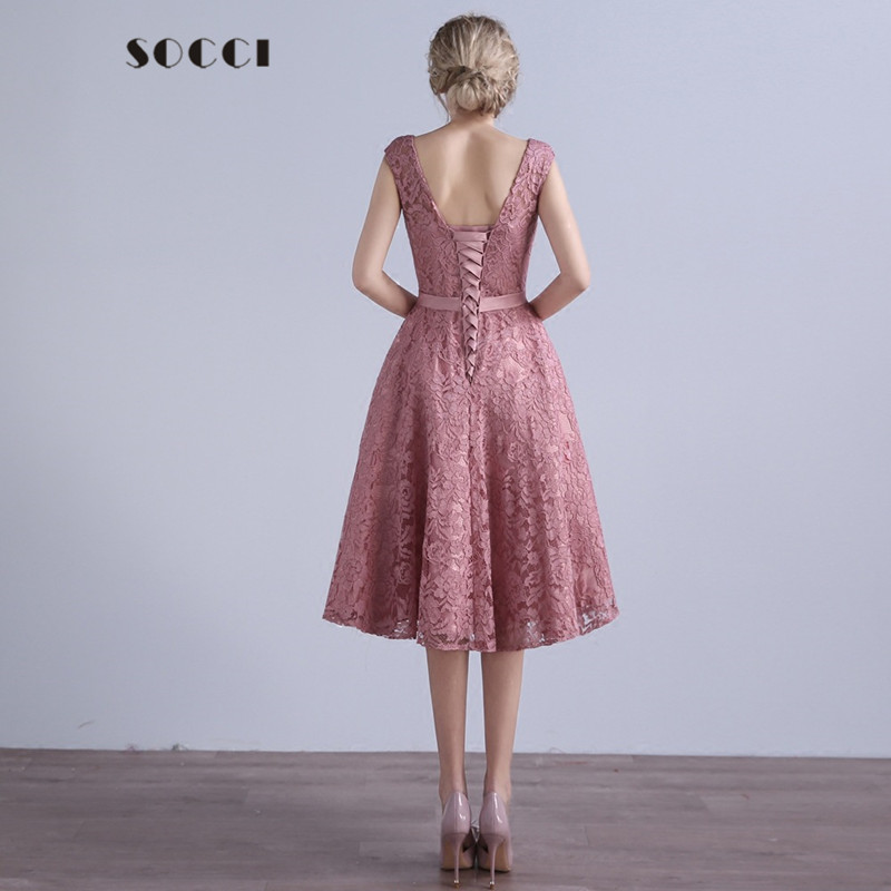1d73ec25f91e SOCCI Elegant Dirty Pink Beading Bow Sashes Evening Dresses mother of the bride  dress Formal Wedding party Gown Custom made free-in Evening Dresses from ...