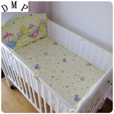 где купить Promotion! 5PCS crib bedding sets cartoon animal crib sets cotton baby bedding Cot bedding Bumper Set (4bumpers+sheet) по лучшей цене