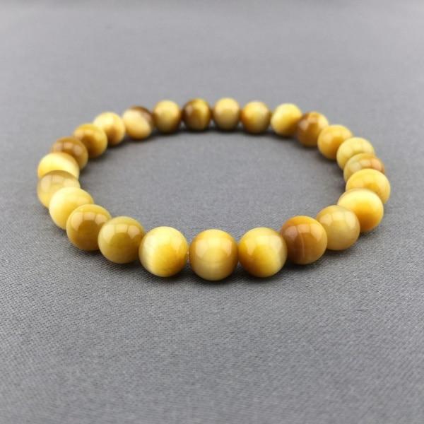 2017 nouveauté nouveaux Bracelets de brin femmes pierre en acier inoxydable rond fait à la main 10mm charme des Bracelets extensibles oeil de tigre