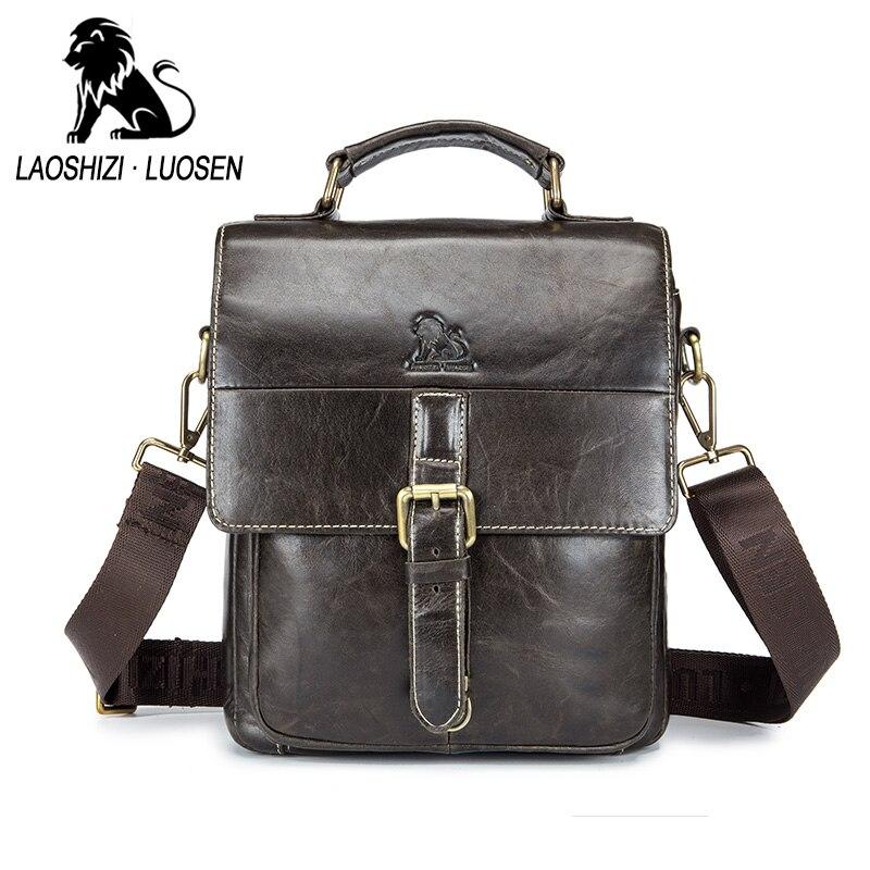 LAOSHIZI LUOSEN hommes Vintage en cuir véritable bandoulière épaule Messenger sacs hommes d'affaires sacs à main homme décontracté Messenger sac