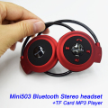 New 2015 Mini-503 Sport Wireless Stereo Bluetooth Headphone Headset TF Neckband Style Earphone for iPhone Samsung Xiaomi