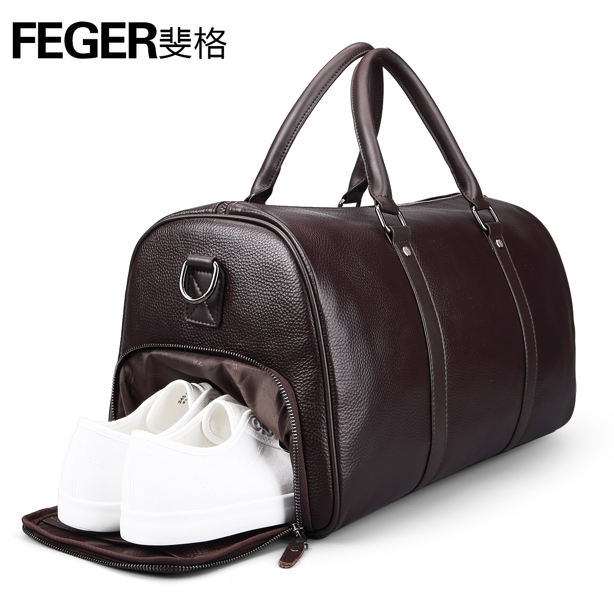 A1102 feger brand soft genuine leather high capacity classic travel Bags with shoe bag for men