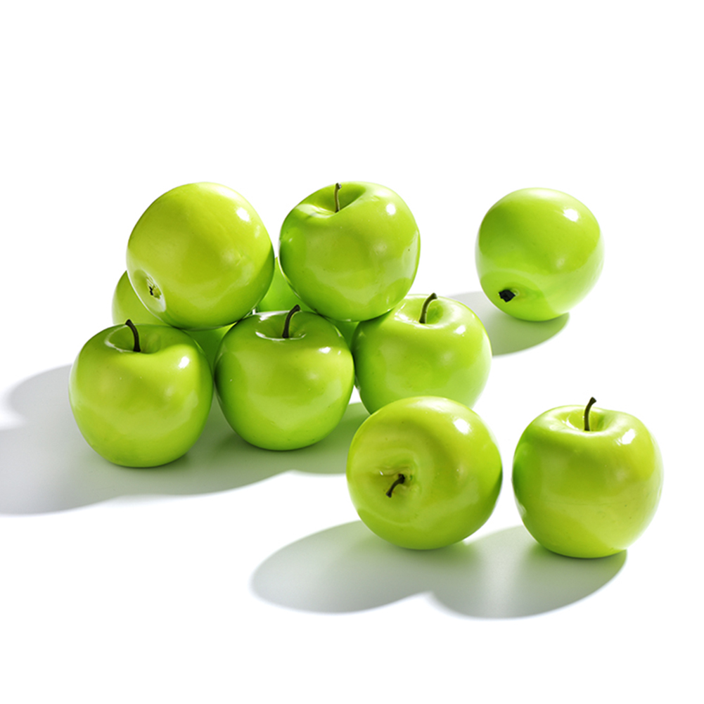 6pcs Artificial Green Apples Fake Fruit Painting Model Home Decoration Photography Props Artificial Apple