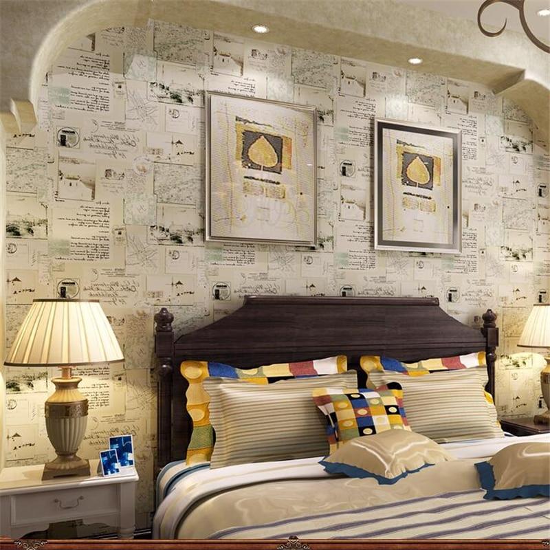 US $42.6 29% OFF|Beibehang Amerikanischen Dorf Retro Zeitung Tapeten papel  de parede tapete kinderzimmer junge schlafzimmer nacht hintergrund-in ...