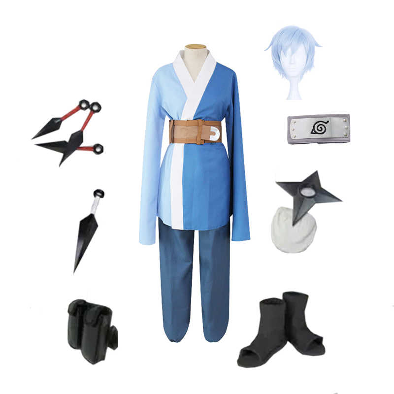 Brdwn Наруто, боруто унисекс Konoha Мицуки костюм для косплея «Ниндзя» (топ + Штаны + ремень + повязка на голову + туфли + кунаи + сумка + сюрикен)