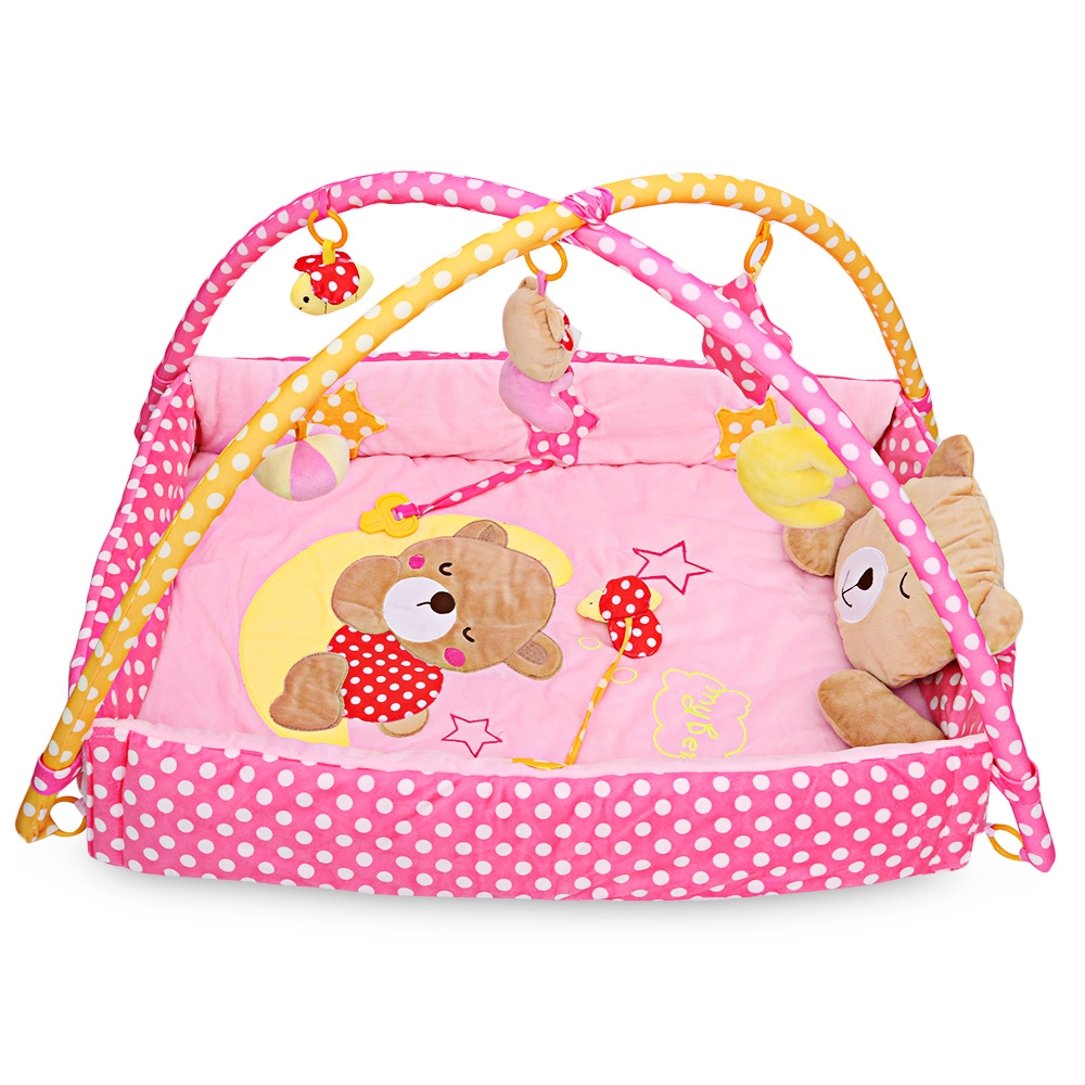 2 Colors Toy Tents Baby Soft Play Mat Bear Folding Gym Blanket with Frame Rattle Crawling Toy Foldable Portable Toys Tent Gifts