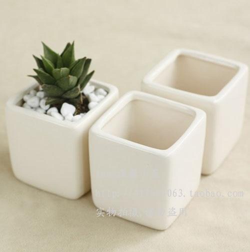 Home decoration ceramic vase flower pot decoration white mini bonsai ...