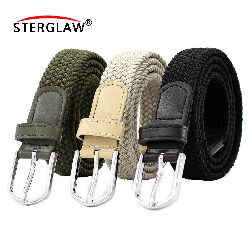 110CM 6 Color Elastic Stretch Waist Belt Canvas Stretch Braided Elastic Woven Leather Belt Hot Metal Stretch Belt Men /wome F128