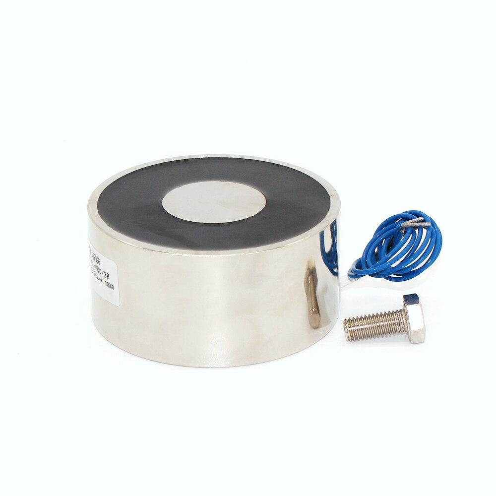 80/38 DC 24V Cylinder Electromagnet Lifting 100KG 1000N Solenoid Strong Sucker Holding Electric Magnet custom round  цены