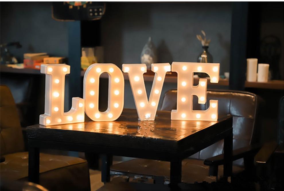 battery powered 22cm 3d 26 white letter led marquee sign alphabet light wall hanging night light bedroom wedding birthday decor