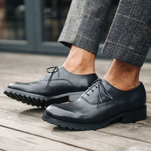 QYFCIOUFU High Quality Business Dress Shoe Lace-up Pointed Toe Men's Genuine Leather Shoes British Style Brogue Shoes Male Flats