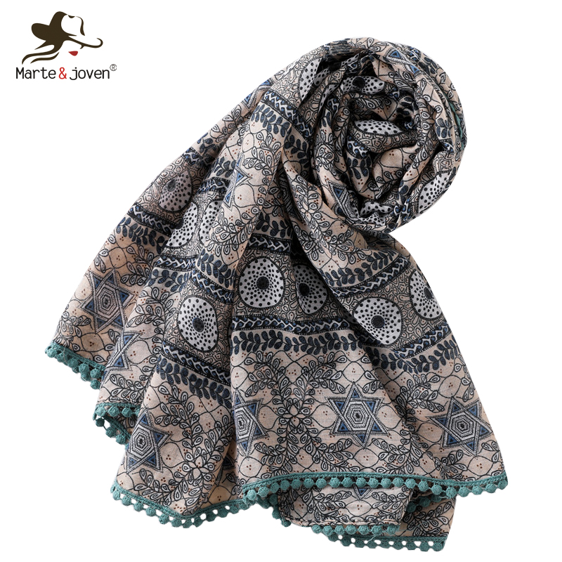 Marte&Joven Ethnic Style Floral Print Brown   Scarf     Wraps   for Women Spring Autumn Long Shawls Pashmina Vintage Ladies Hijab
