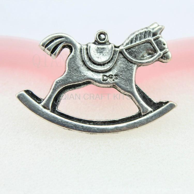 50pcs large rocking horse antique silver zinc alloy flatback charm drops DIY Supplies for Jewelry Making 41*27mm 3d riding