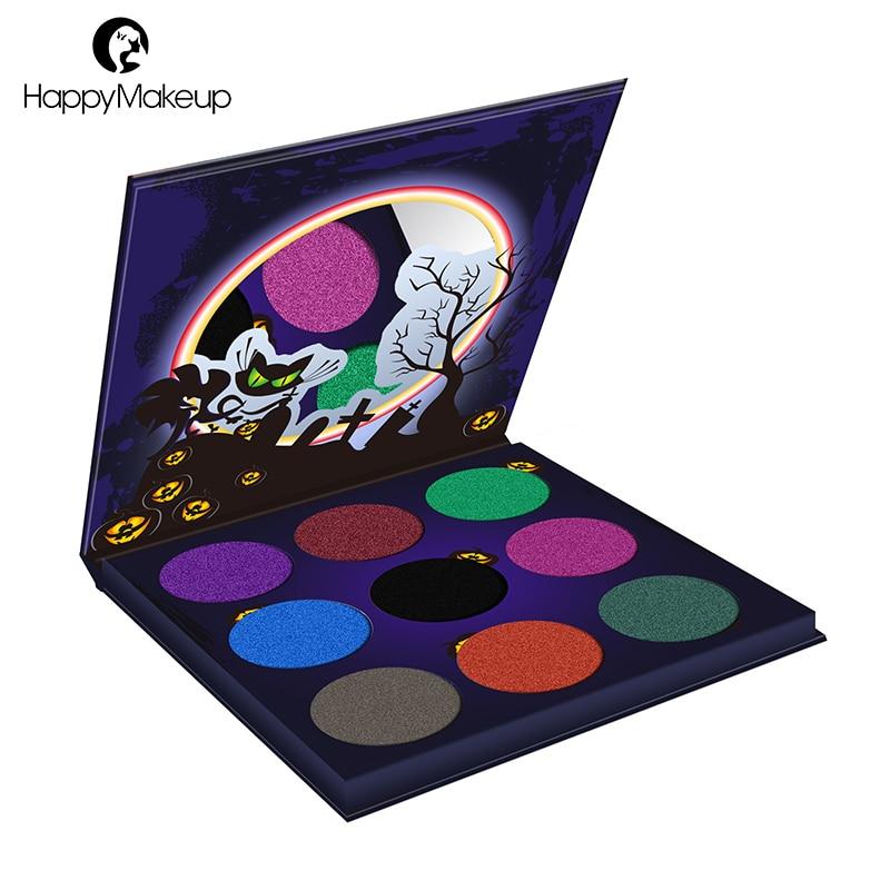 Happy Makeup 9 Colors Glitter Eyeshadow Palette Shimmer Luminous Smoky Eye shadow Cosmetic Palette Long Lasting Waterproof