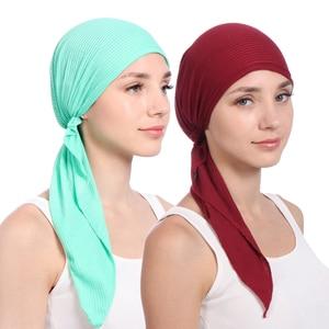 Image 5 - 2020 new cotton turban hat women soild color headscarf bonnet femme musulman foulard hijab caps muslim wrap head scarf turbante