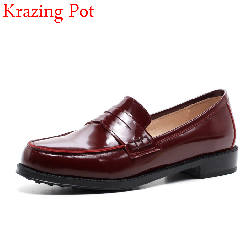 2018 Fashion Genuine Leather Streetwear Thick Heel Slip on Women Pumps Round Toe European Designer Elegant Red Casual Shoes L09 2018 superstar genuine leather streetwear med heels tassel slip on women pumps round toe retro sweet handmade casual shoes l03