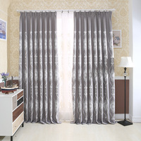 The European And American Modern Gray Shading Cotton Embroidery Curtains For Living Dining Room Bedroom