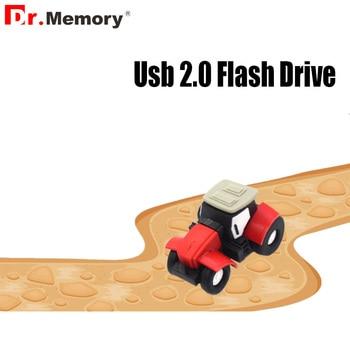 Portable Cartoon Mini Tractor Pen Drive 64GB Memory Stick 4GB 8GB 16GB 32GB Memory USB Stick Car Creactive Usb Flash Key Gift