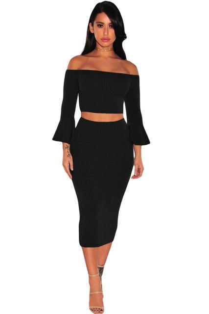 2017 Women Winter Clothing Sets Conjunto Feminino Saia E Blusa Black/Coffee Ribbed Knit Bell SleeveTwo Pieces Skirt Set LC63016