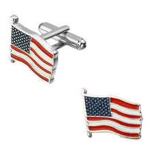 Men's shirts Cufflinks high-quality copper material The flag of the United States Cufflinks 2 pairs of packaging for sale
