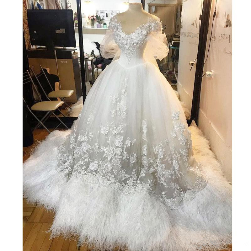 Mega Deal Vintage Gothic Ball Gown Wedding Dresses 3d Appliqued Scoop Plus Size Feather Bridal Gowns Beaded Lace Up Tulle Vestido De Novia October 2020