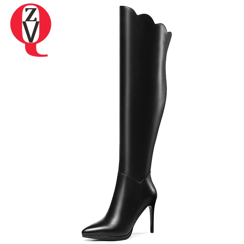 ZVQ 2018 new fashion sexy pointed toe zip super high thin heels genuine leather women shoes winter outside party over knee boots футболка print bar penetrators