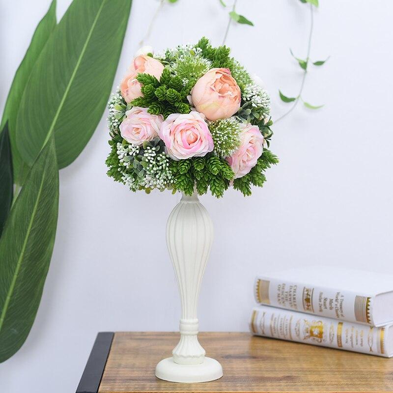 Flone casamento mesa de madeira peça central flores adereços com vaso estrada chumbo flor bola decoração artificial flor hotel christma - 3