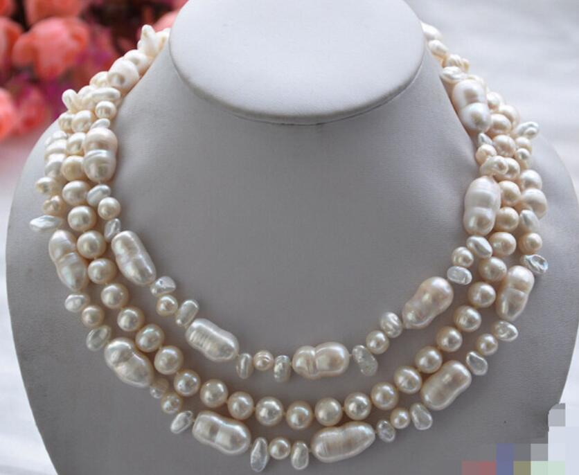CBH55 3row 18 18mm white double / round / baroque freshwater pearl necklaceCBH55 3row 18 18mm white double / round / baroque freshwater pearl necklace