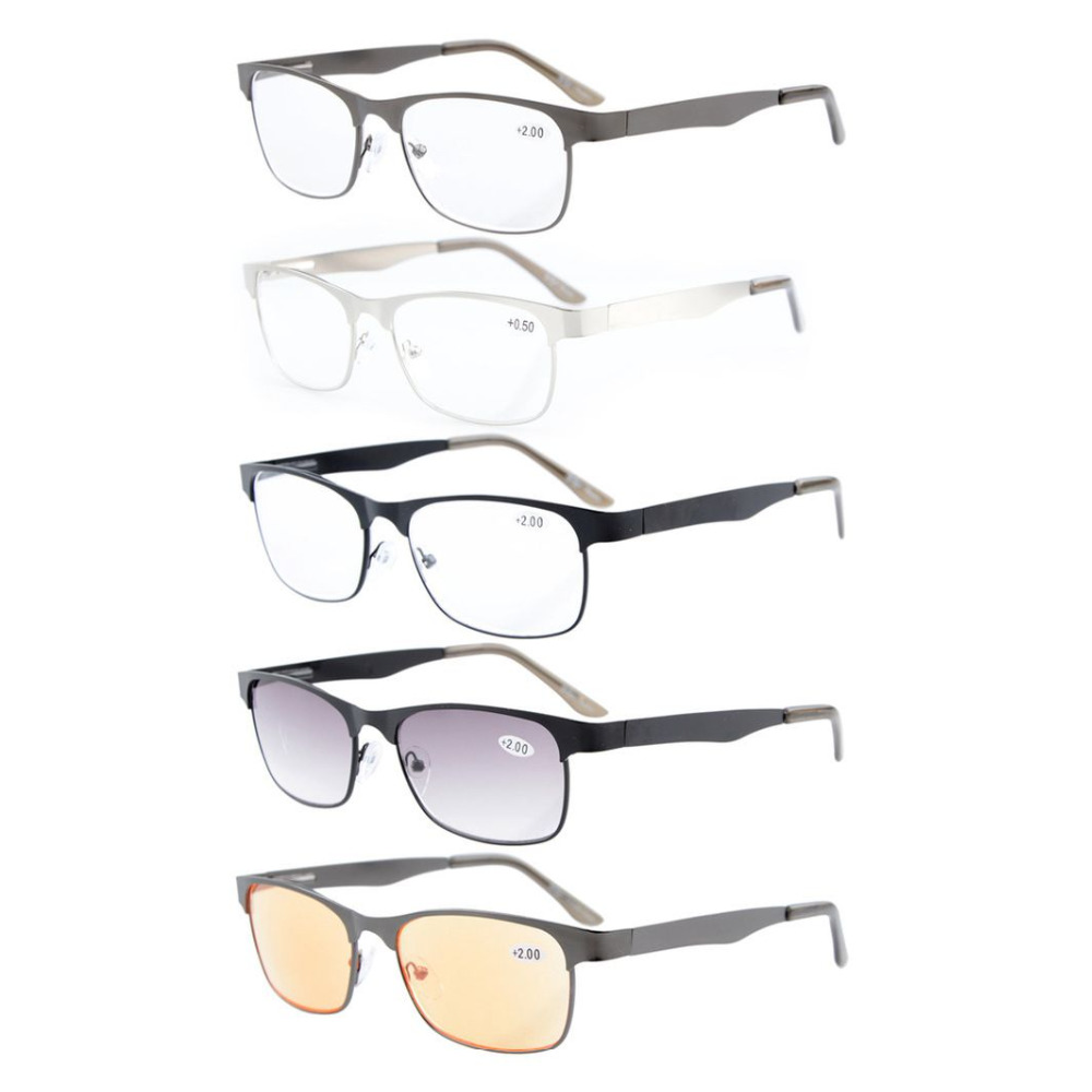 9d604c5b5ce R15017 Mix 5-pack Eyekepper Metal Spring Hinges Reading Glasses Include  Computer Readers Reading Sunglasses +0.50----+4.00