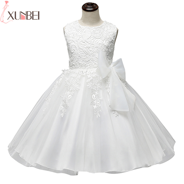 2020 Summer Cute O Neck Sleeveless Flowers Girls Dresses Bow Appliques Princess Wedding Party Lace Ball Gown Girls Evening Gowns