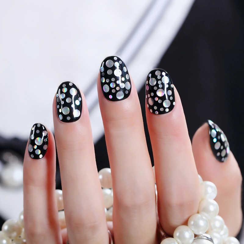 Ноготь маникюрный-разные размеры блестки голографические серебряные хлопья красочные круглые Блестки для ногтей маникюр Дизайн ногтей украшение