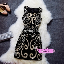 Woman Embroidery Party Dress 2017 Summer New Vintage Women s Handed Sequins  Slim Dress Sleeveless Sexy Club 9f1753d20803