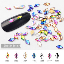 10pcs Nail Art Decorations Crystal Glitter Flat Shaped Rhombus AB Rhinestones 3D Design Charm Manicure Decoration