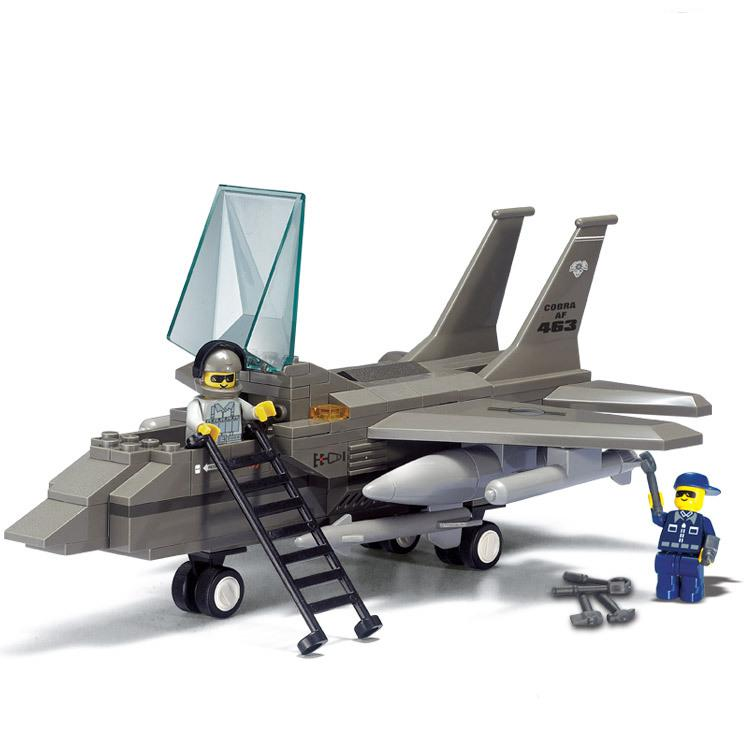 BOHS Building Block Air Force Series F-15 Eagle Fighter with Soldier Figures Children Toys 142pcs