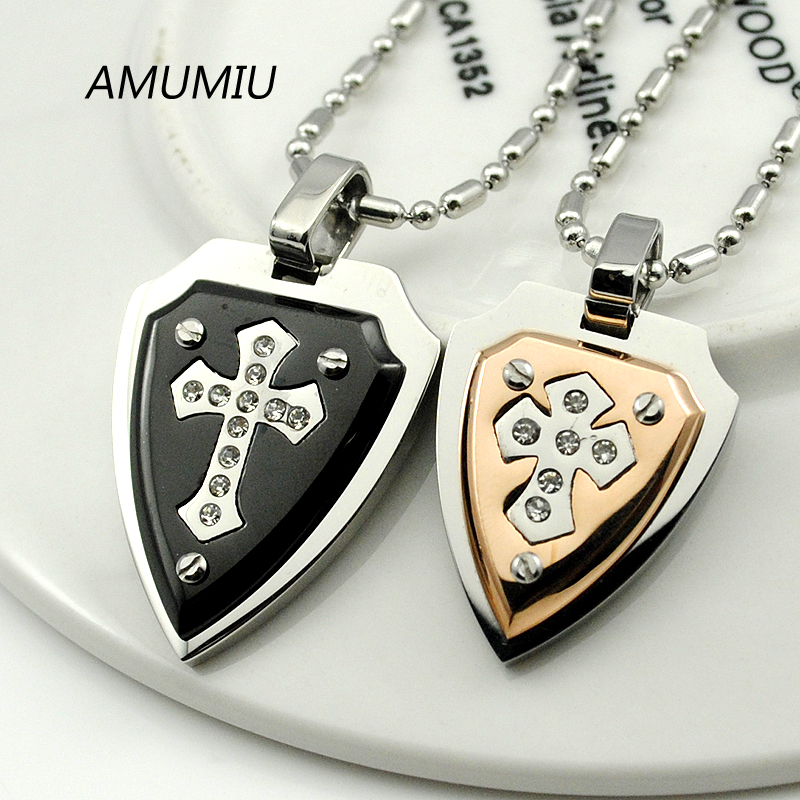 AMUMIU 1 Pair Shield Cross Stainless Steel Pendant Necklace For <font><b>Couple</b></font> <font><b>Jewelry</b></font> Lover Gifts Romantic Crystal HZN121 image