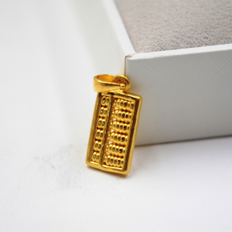 New Arrival Pure 999 24K Yellow Gold Women's 3D Abacus Pendant 1.3-1.5g