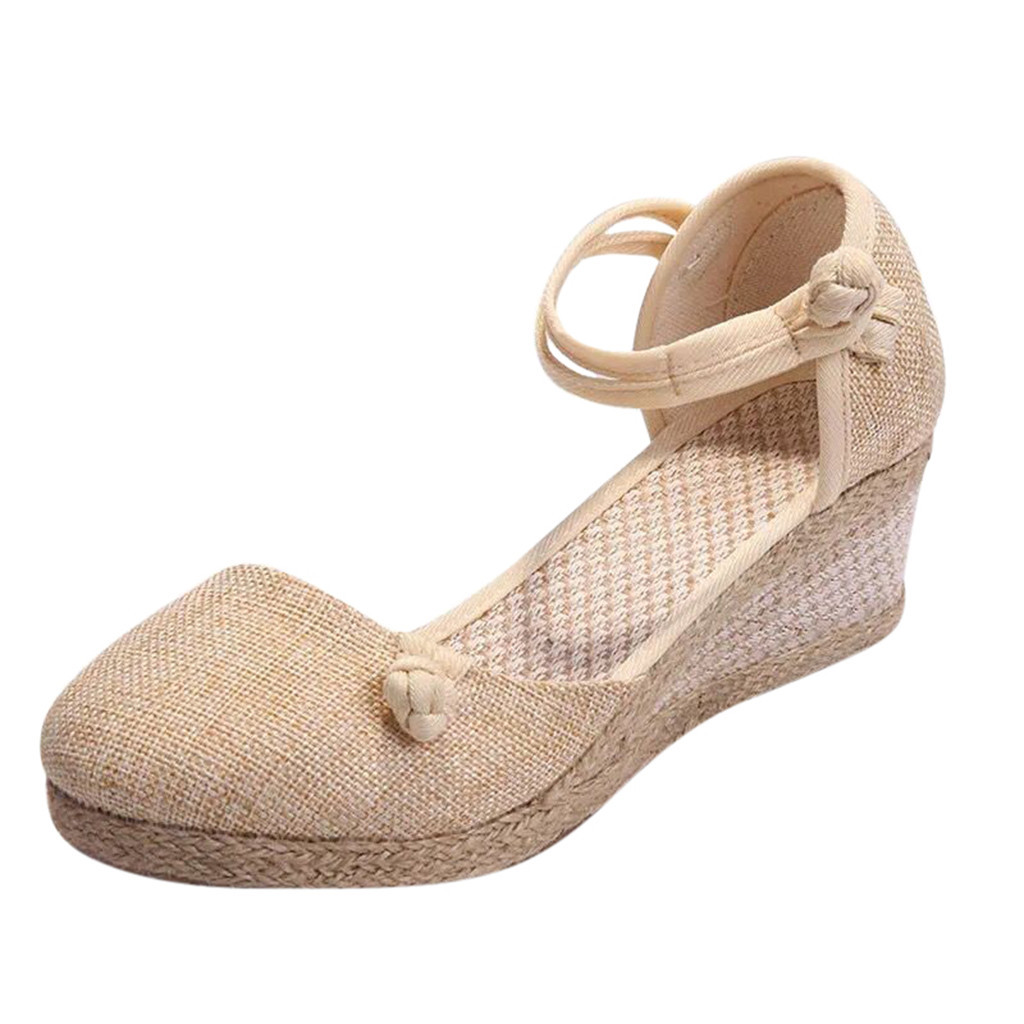 Casual Sandals Shoes Buckle Wedge Round-Toe Fashion Women Ladies Hemp Solid Retro Linen