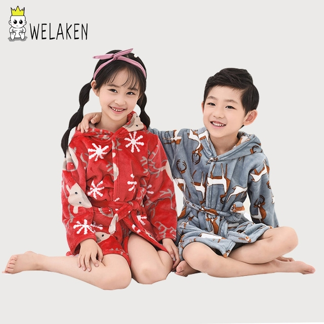 132df3088645 weLaken Kids Bathrobe 2018 Fashion Robes Cute Pattern Infant Boys Girls  Bathrobe Winter Toddler Hooded Flannel Sleepwear Robes