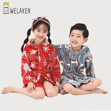 weLaken Kids Bathrobe 2018 Fashion Robes Cute Pattern Infant Boys Girls Bathrobe Winter Toddler Hooded Flannel Sleepwear Robes