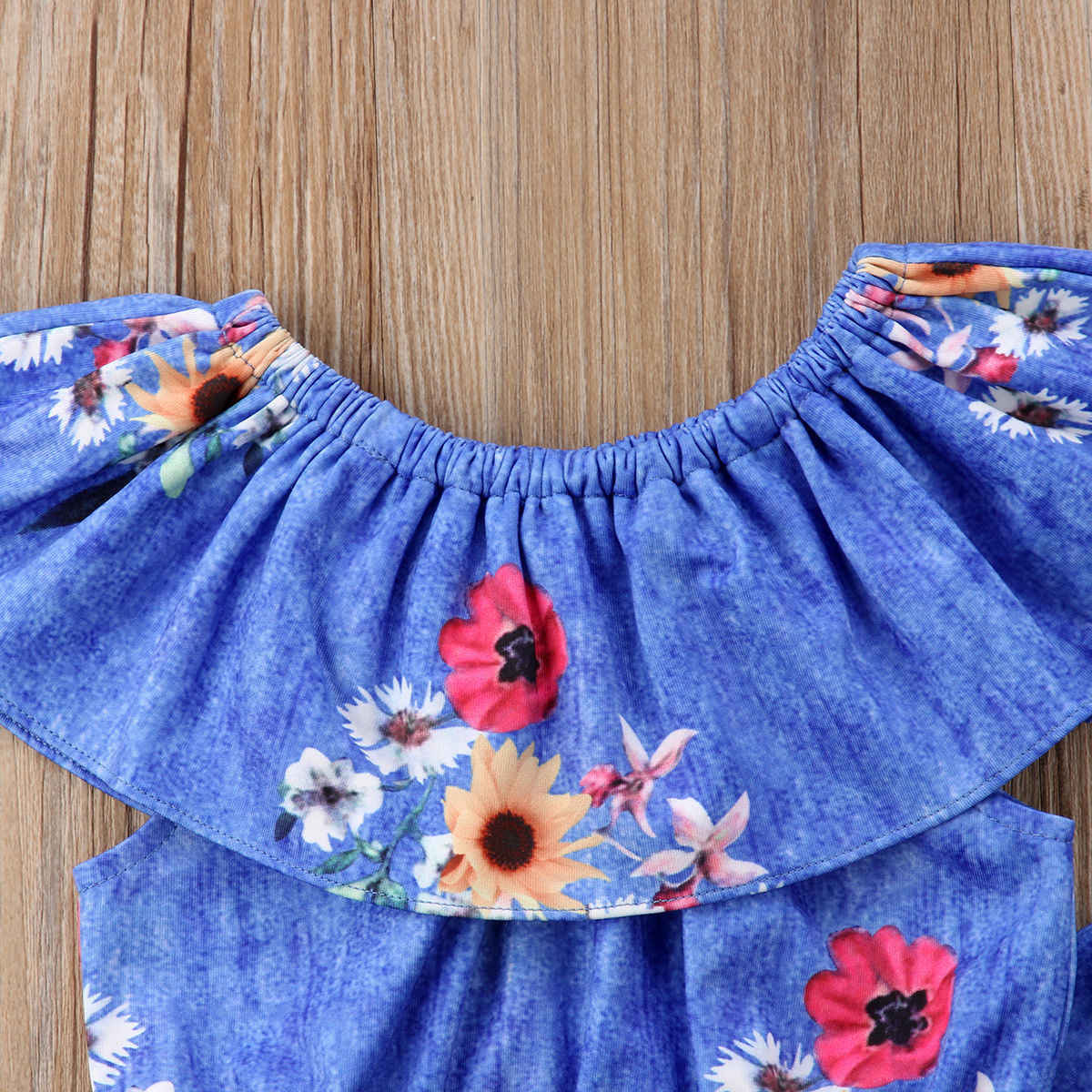 2018 new Toddler Kid Baby Girl Lotus Collar Tops T-shirt and Flared Pants Bell Bottom Outfits fashion trend summer print CH