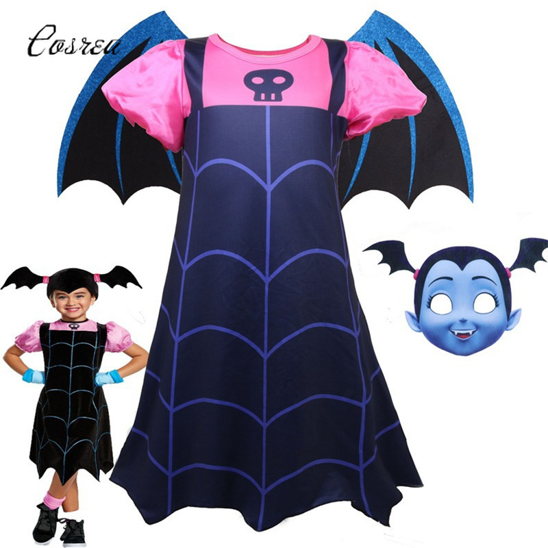 Costume Vampire Dress Sale Kids Clothing Mask Flying Wing Summer Dress Party Fancy Dress Vampire Costumes for Girls Cosplay