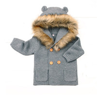 New Baby Cute Coat Baby Winter Knitting Clothings Hooded Infant jacket Girl Boy Warm Coat Kids Baby Outfits Clothes Baby Costume