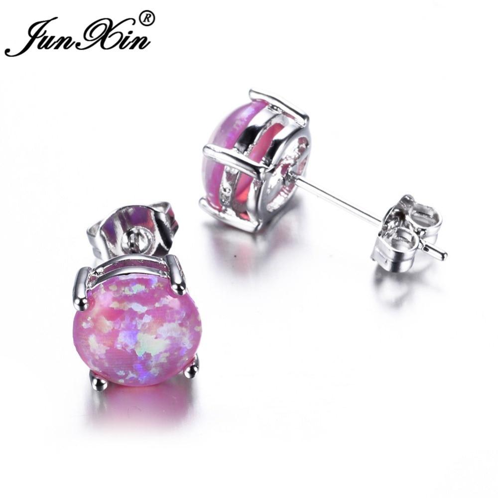 5090837f7 JUNXIN Bohemia Fire Opal Earrings For Women Ladies White Blue Red Purple  Round White Gold Filled Double Side Stud Earrings-in Stud Earrings from  Jewelry ...