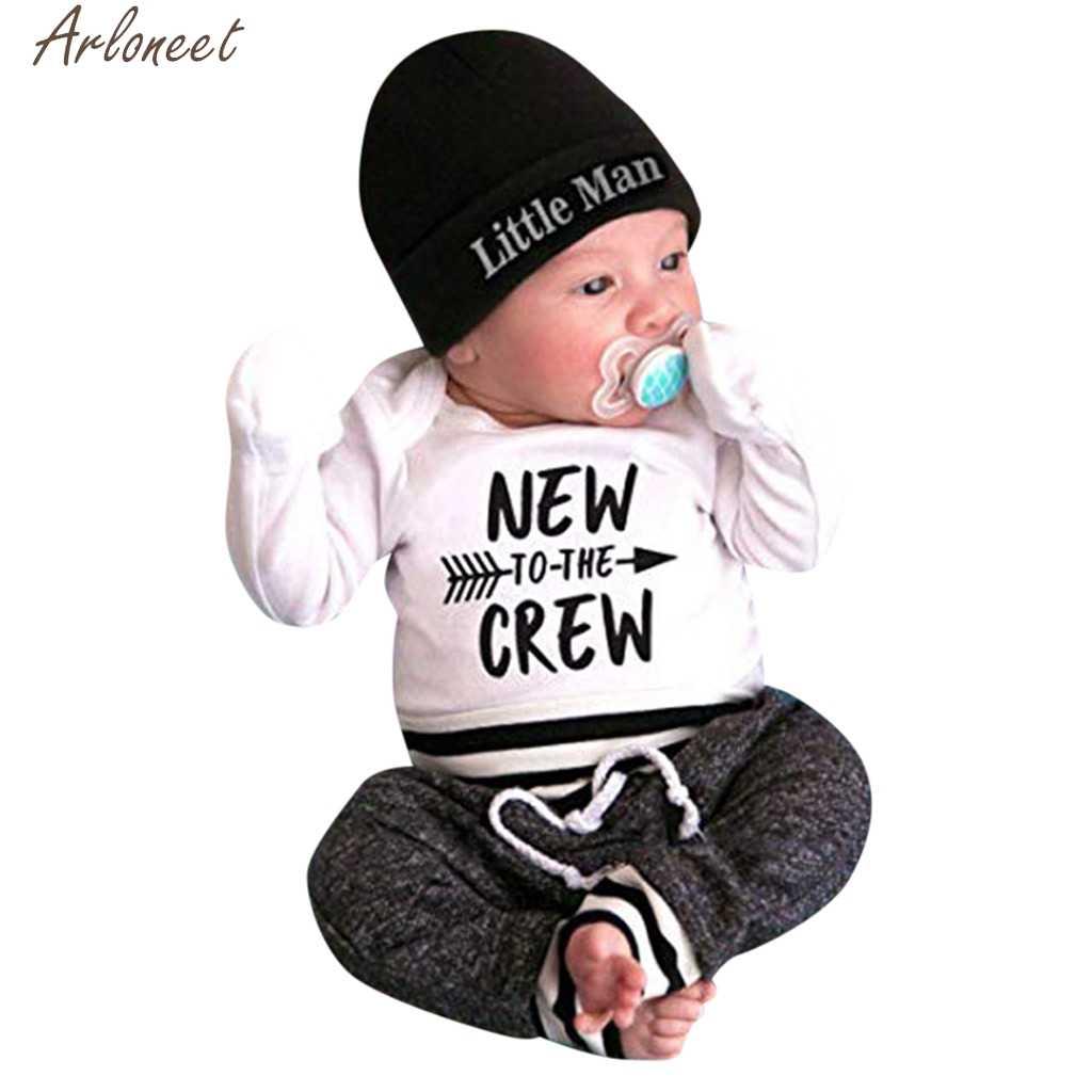 fdefa663f2a ARLONEET 3PCS Newborn Baby Boy Outfits Letter Print baby kleding new born  baby boy clothes set