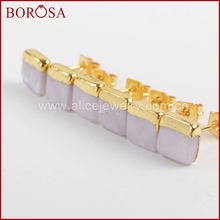 BOROSA Gold Color 7mm Square Natural White Shell Stud Earrings for Women, Fashion Druzy Stud Earrings Jewelry Earrings G1363
