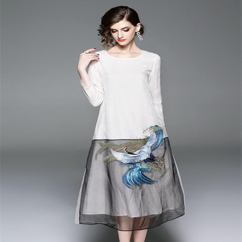 Femmes Organza Broderie New Automne Couleur Size Mode Patchwork Vintage Blanc Verano 2018 Dames Robe De Noir Plus zzrvwpqE
