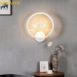 Okrągłe ptaki kinkiet sypialnia lampki nocne kinkiet minimalistyczny nowoczesny lampa do salonu korytarz schody alejek LED Light