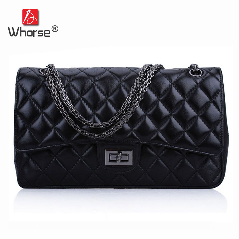 цена на Classic Luxury Sheepskin Crossbody Shoulder Bag Women Messenger Bags Plaid Quilted Purse With Metal Silver Chain Black W02250